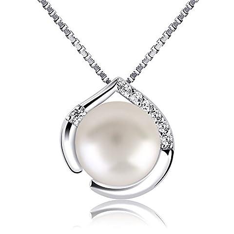 B.Catcher Perle Halskette Herz Kette Anhänger 925 Silber Damen Schmuck Herzsprache süßwasserperlen mit Geschenk Box 45cm Kettenlänge