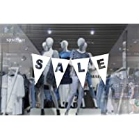 1 x wall window display sale sticker - sale triangles bunting banner - white vinyl cut out - self adhesive weather proof vinyl sticker label