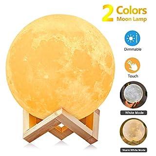 AGM Mond Lampe- Nachttischlampe ,3D Mond Kunst Mondlampe,Farbige Dekoleuchte mit Tragbar Dimmbar Schlummerleuchte Stimmungslicht und USB Steckdose für Geschenk/ Weihnachten-[ 5,91Inch /15 cm]