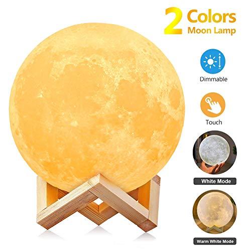 AGM Mond Lampe- Nachttischlampe,3D Mond Kunst Mondlampe,Farbige Dekoleuchte mit Tragbar Dimmbar Schlummerleuchte Stimmungslicht und USB Steckdose für Geschenk-[ 5,91Inch /15 cm]