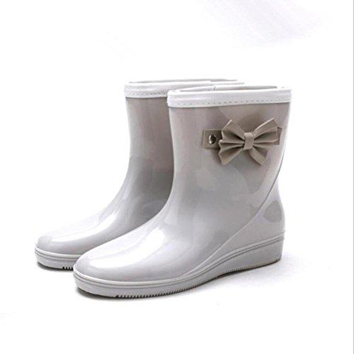 SIHUINIANHUA Frau Anti-Rutsch-Regen Stiefel/Bogen Regen Stiefel/Rohr Wasser Schuhe/Schuhe, Grey, 39