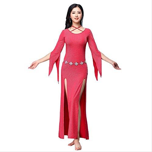Klmwddpwy danza del ventre abbigliamento nuovi arrivi abiti da ballo donna o-collo maniche lunghe fessure laterali gonne paillettes elastiche abiti da danza del ventre (con sotto pantaloni) l rosso
