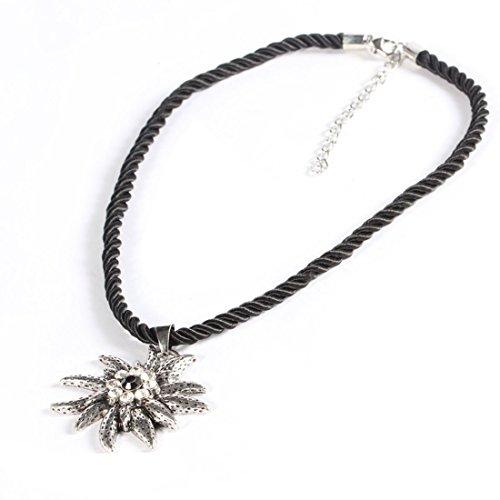 EROSPA® Trachten Hals-Kette mit silbernen Edelweiss-Anhänger Kordel Damen Schmuck Oktoberfest Dirndl Trachtenmode Wiesn schwarz