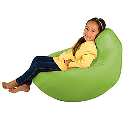 Bean Bag Bazaar Kids Gaming Chair - Large, 80cm x 70cm - Childrens Indoor Outdoor BeanBag (Lime Green, 2)