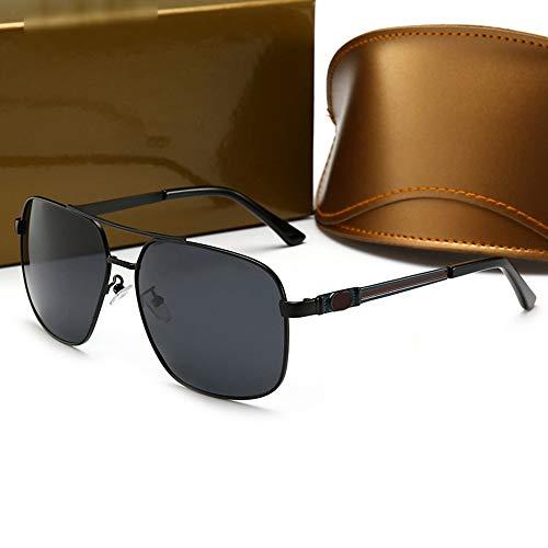 Honneury Metal Square Driving Sonnenbrille für Herren, polarisierte Gläser, UV-Schutz (Farbe : Black/Black)