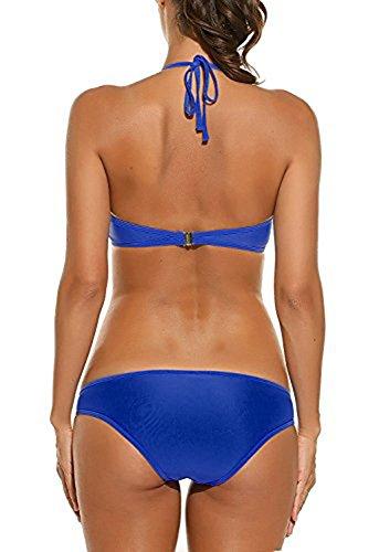 Vsecrety 2017 Donna Sexy Push Up Vita Alta Due pezzi Bikini Set per mare Blu