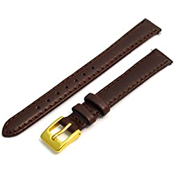 Ladies Soft Genuine Leather watch Strap Band 10mm, Brown, Gilt (Gold Colour) buckle