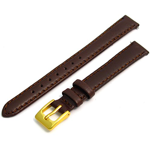 ladies-soft-genuine-leather-watch-strap-band-12mm-brown-gilt-gold-colour-buckle