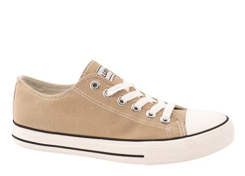 Elara Unisex Sneaker | Bequeme Sportschuhe für Herren und Damen | Low top Turnschuh Textil Schuhe 36-46 Khaki