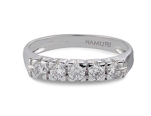 Anello veretta in oro bianco 18 k e diamanti 0,35 ct