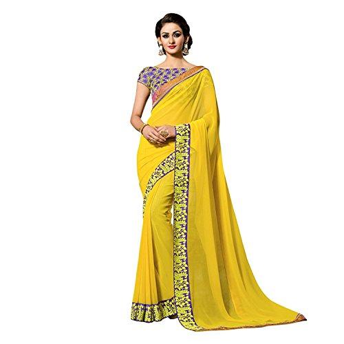 Kjp Villa Women\'s Georgette Yellow Free Size embroidery Saree With Blouse Pics (zeel saree-259)