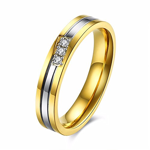 Crystal Stripe Stainless Steel Lover Couple Ring Anello Donna Jewelry Per Wedding