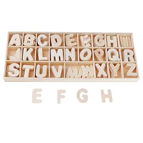 P Prettyia 156 pcs Handwerk Holz Buchstaben Tischdeko Ornamente Für Kunsthandwerk DIY