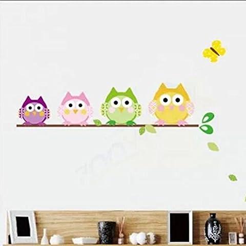 HuaYang - Adhesivo mural (vinilo), diseño infantil de búhos, varios colores