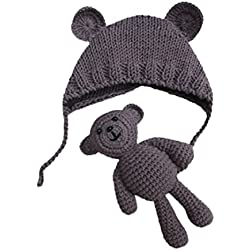 Vovotrade Conjunto Bebé Recién Nacido Fotografía Prop Foto Crochet Oso del traje del traje + Sombrero, 0-9 meses (Caqui)