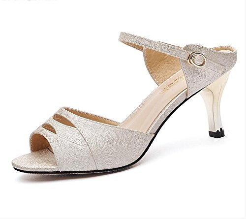 XY&GKFisch Mund Sommer Sandalen Frauen Sommer High-Heeled Sandalen mit feinen High-Heeled Sandalen mit einem mit All-Match, komfortabel und schön hohl 39 gold