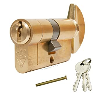 UAP MAX6MUM Anti-Snap Thumbturn Euro Cylinder Antique Brass 45/40 T (85mm overall) Lock - with 3 extra keys (6 Total) - Kitemarked High Security door lock.