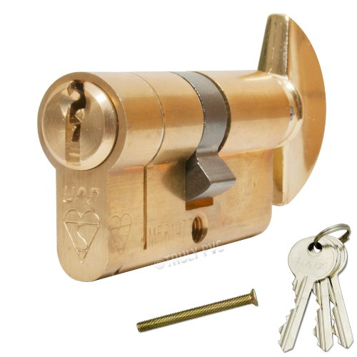 Preisvergleich Produktbild UAP Anti-Snap Thumbturn Euro Cylinder Antique Brass 45 / 55 T (100mm overall) Lock - with 1 extra key (4 Total) - High security door lock.