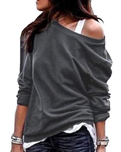 YOINS Sexy Schulterfrei Oberteil Damen Shirt Off Shoulder Top Pullover Damen Rollkragen Langarm Gestreift Pulli Lose Tshirt Hemd Einfarbig-Grau EU 40-42 (Herstellergröße:L)