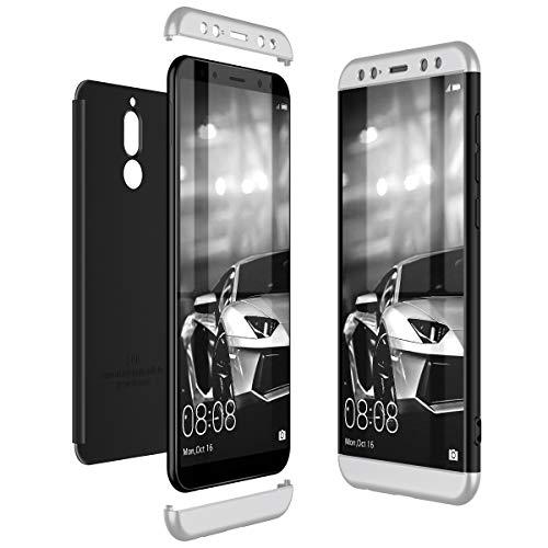 CE-Link Huawei Mate 10 Lite Hülle Hardcase 3 in 1 Handyhülle 360 Grad Hard Hartschale Grad Full Body Case Cover Schutzhülle Bumper - Silber + Schwarz