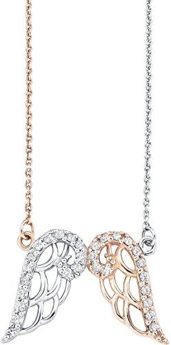 Amor Damen-Kette 42 cm mit Anhänger Flügel 925 Silber teil-rosévergoldet Zirkonia weiß