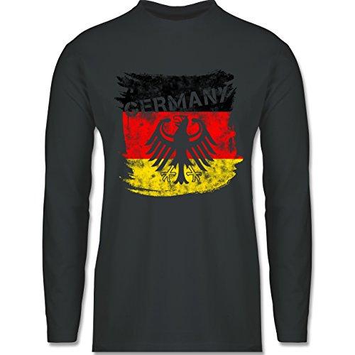 EM 2016 - Frankreich - Germany mit Adler Vintage - Longsleeve / langärmeliges T-Shirt für Herren Anthrazit