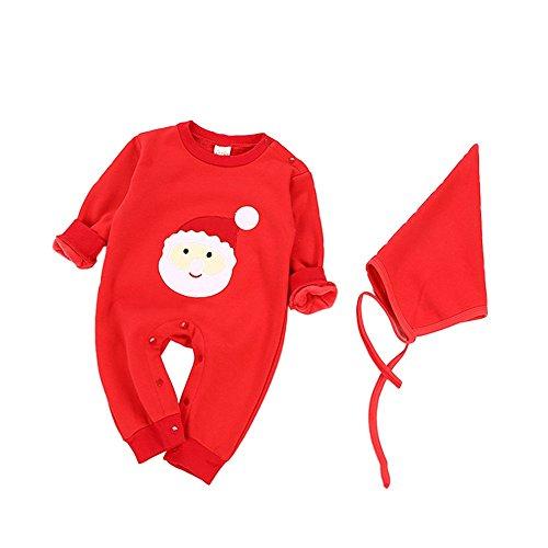 Bébé Costumes, Chickwin Bébé Pur Coton En Peluche Casual Vêtements Bébé Enfants Garçon Fille Barboteuse Infantile Coton Vêtements (66, Rouge, Père Noël)