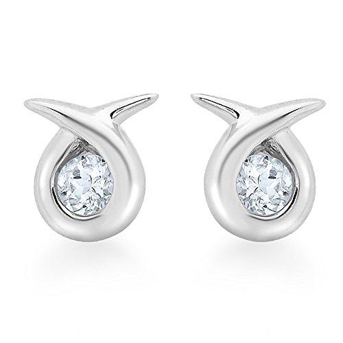 Carissima Gold 9ct White Gold Aquamarine Kiss Stud Earrings