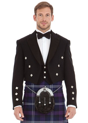 M�nner Scottish Black Prince Charlie Kilt Jacke & Weste 38 Long