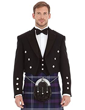 M�nner Scottish Black Prince Charlie Kilt Jacke & Weste 42 Regular