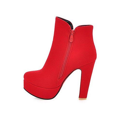 VogueZone009 Donna Pelle Di Mucca Bassa Altezza Puro Cerniera Punta Chiusa Stivali con Metallo Rosso
