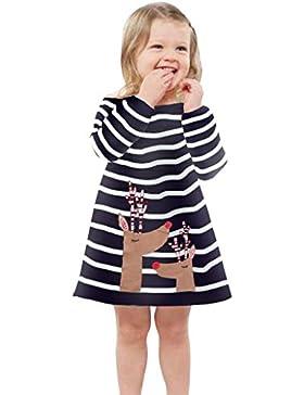 Riou Weihnachten Baby Kleidung Set Pullover Outfits Winteranzug Kinder Baby Mädchen Deer Gestreifte Prinzessin...