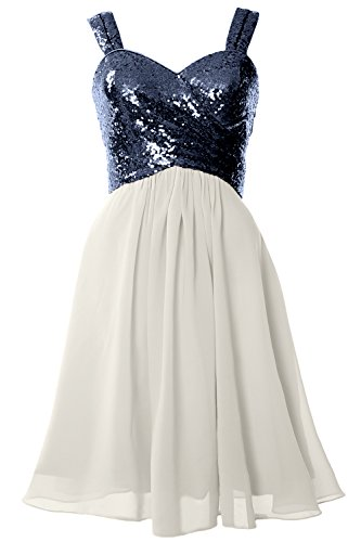 MACloth Gorgeous Sequin Short Bridesmaid Dress Cowl Back Cocktail Formal Gown Dark Navy-Ivory