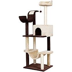 Finether-Árbol para Gatos Rascador con Hamaca, Plataforma y 5 Bolas de Juego
