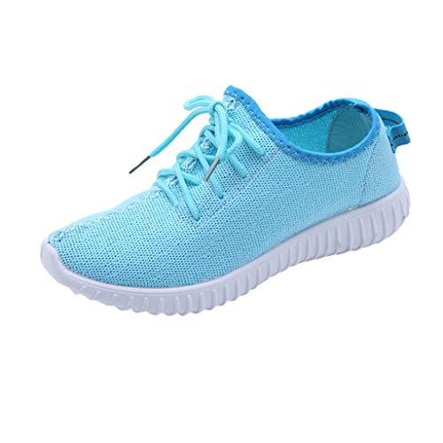 MRULIC Damen Low-Top Sneaker Halbschuh Schnürschuh Damen Flache Turnschuhe Mode Mesh Atmungsaktive Laufschuhe Schnürer Sportschuhe Trainer Schuhe Freizeitschuhe(Blau,39 EU) - 12 Damen Halbschuhe Schuhe