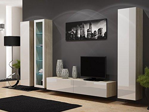 Wohnwand ' Vigo 2' Hochglanz Hängeschrank Lowboard Cube , Farbe:Sonoma Eiche . Weiß