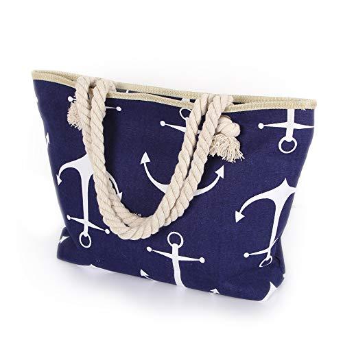 Delindo Lifestyle® Strandtasche ANKER XL mit Reißverschluss auch als große Badetasche mit Kordel Tragegriffen