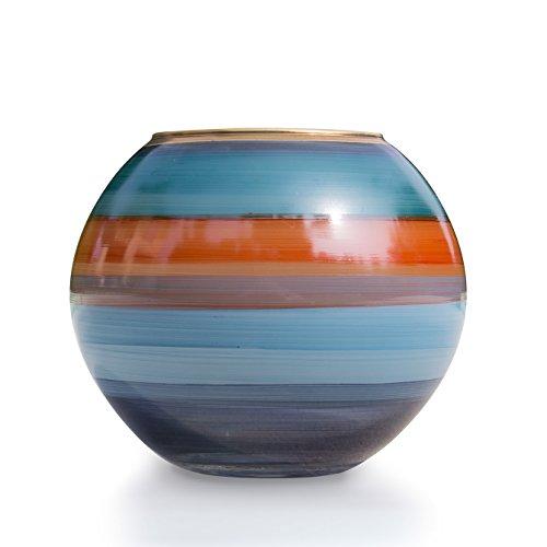 Angela neue Wiener Werkstaette Kugelvase aus Glas veredelt, blau/orange, 14 x 14 x 12 cm