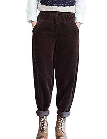 Youlee Damen Elastische Taille Weites Bein Hose Cordhose Kaffee M