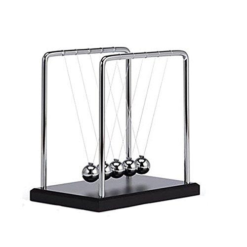 KKwell Science Toys Newton's Cradle Metallkugel Holz Sockelhalterung Office Desktop Ornamente (X-Large)