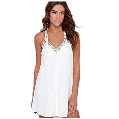 Loveso Sommerkleid Damen Y Form Backless Ärmellos Schulterfrei V-Ausschnitt Sexy Chiffon Kurzes Kleid ((Größe):38 (L), (Brown Kleid Jeans)