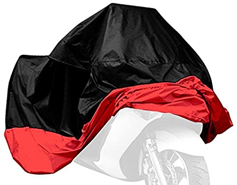 AKORD MO-14-BR Motorcycle Waterproof UV Protective Cover with Carry Bag, Black/Red, Size XL