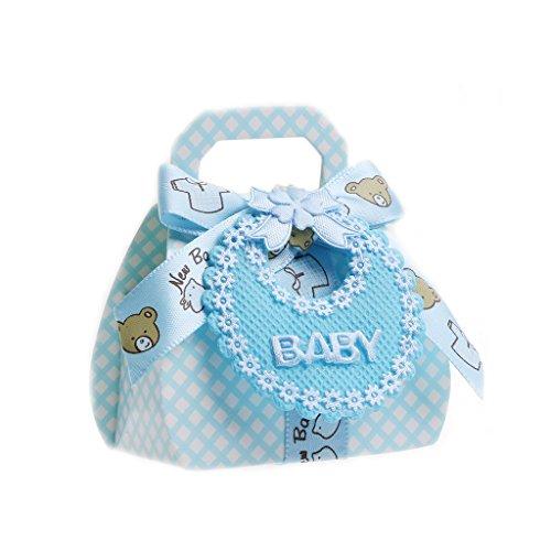 JAGENIE 12Candy Boxen mit Band für Baby Dusche Taufe Party Favor Geschenk DIY, Papier, Blau, 8 x 5.8 x 3.5cm