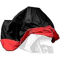AKORD telo impermeabile di protezione per moto, anti UV, con borsa per il trasporto, colore: Nero/Rosso, taglia XL