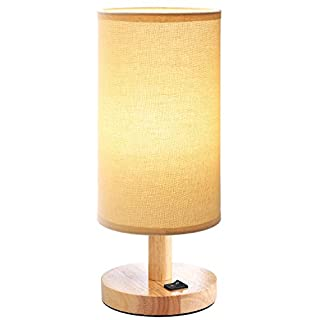 Bedside Table Lamp Wood Small Table Lamp with Beige Shade E27 LED Desk Lamp Retro Vintage Country House Style