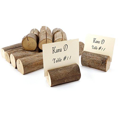 CLE DE TOUS - Soporte para Tarjeta marcasitio Fotos Mesero Decoración de mesa de boda Rústica- Soporte madera natural (20)