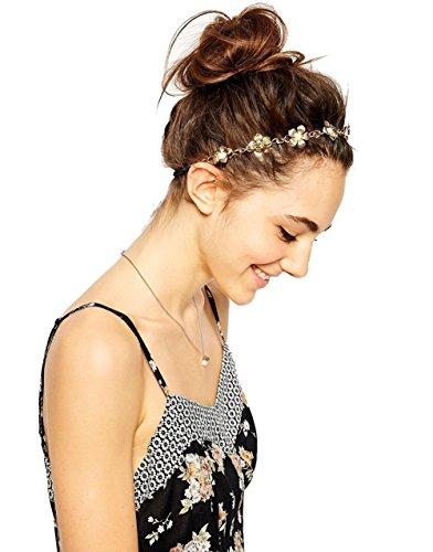 Butterme Femmes élastique hoop Fleurs Bandeau cheveux avec perles incrustées cheveux envelopper les cheveux bande