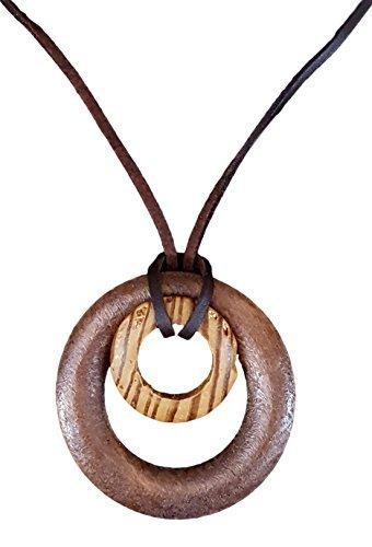Natural madera espiral círculos Colgante...
