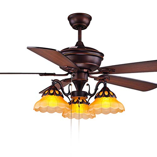 Lampadari, lampade a sospensione e plafoniere 3 lampadari del ventilatore del ristorante leggero, ventilatori del soffitto con la lampada, pale di ventilatore di legno, illuminazione d'annata del pend