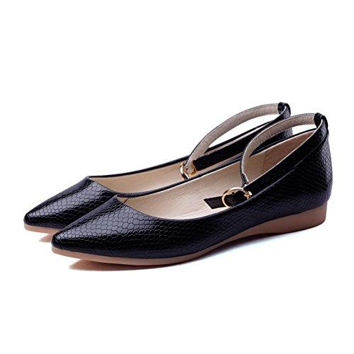 AgooLar Femme Boucle à Talon Bas Pu Cuir Couleur Unie Pointu Chaussures Légeres Noir